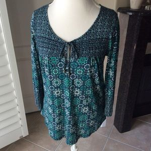 Lucky Brand Boho Bead Tie Top Medallion Blouse